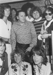 Kim (bottom center) with Gene Vincent, Bruce Johnston, Del Shannon, Ridney Bingenheimer (bottom left) and unidentified musicians, circa 1969.