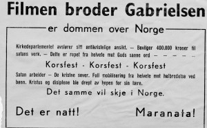 "Maranata protest flyer decrying the 'Broder Gabrielsen' film as the ""work of Satan ... crucify, crucify, crucify... It is night!"""