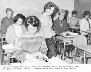 "SUK typing class. ""We used to let them write to the rhythm of rock 'n' roll melodies."""